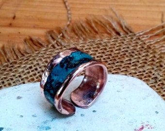 Marbled Verdi Inlay Cuff Ring .Bracelet. Ring and Bracelet Combo.