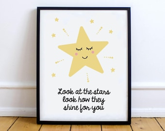 Nursery Print Star Moon, Digital Printable Wall Art Poster, Baby Girl Boy, Typographic, Quote  / INSTANT DOWNLOAD