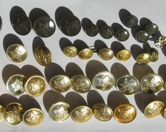 Vintage Soviet Military Buttons. Lot of 47 Buttons.