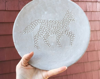 Ceramic Creamy White Fox Silhouette Illustrated Dinner Plate