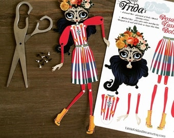 "Little Frida's Dream Articulated Paper Doll 12"" Tall (Day of the Dead Design 1)"