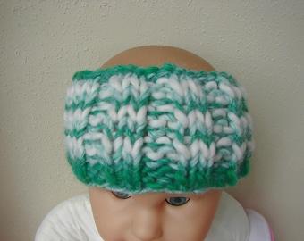 Hand knit child ear warmer green white kids head warmer knit in round no seams thick yarn warm chunky head band toddler boy girl warm knit