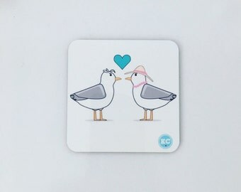 Seagull love Coaster. Designed by Katie Cheetham