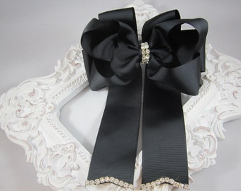 "NEW black OTT 5"" bling bow with tails"