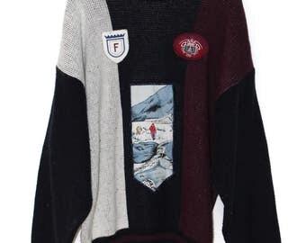 1980s Soft Sweater/ Skiing Sweater/ Ski/ Winter Scene Pattern/ Acrylic Sweater/ Patch/ Old Man Sweater/ Dad Aesthetic/ Winter Wear