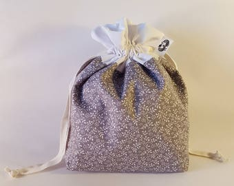 """Small Lined DRAWSTRING Bag, FLORAL, #72, 10""""x7""""x3"""", project bag, storage bag"""