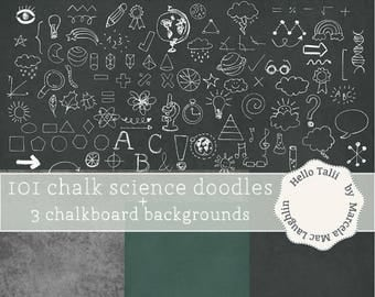 Chalkboard Back to School Doodles Clip Art 101 Science and Math WHITE CHALK Doodles+ 3 Chalkboard Digital Papers- Back to School Clipart