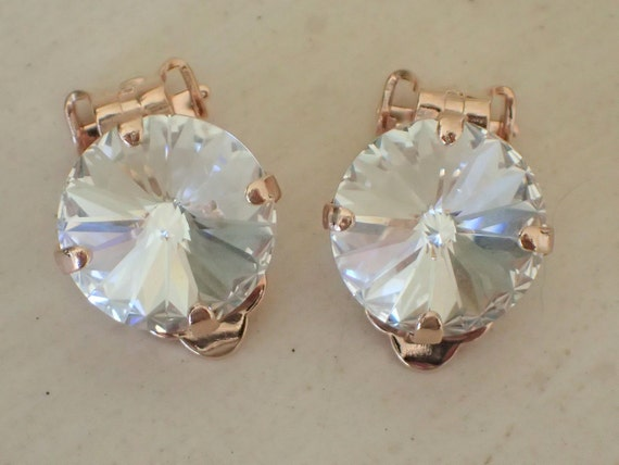 Swarovski Crystal Clip On Earrings, Rose Gold