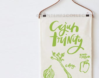 Cajun Trinity tea towel