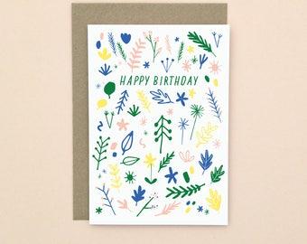 Happy Birthday Card A6 Illustrated