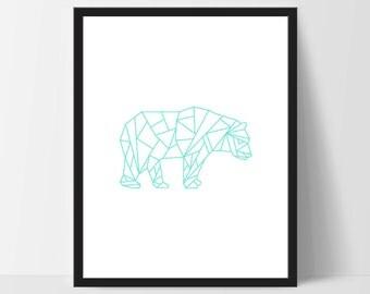 Teal Geometric Bear, Printable Wall Art, White, Wall Print, Boho Art, Wall Prints, Bear Prints, Printable Art, Printable, Walking Bear