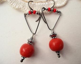 Red corals earrings 20s silverpyrite rondelles niobium earhooks vintage corals mikrosmall silverpyrite boho earrings OOAK