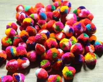 80 yarn pom pom, mixed colors, handmade cotton yarn