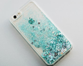 GREEN - Glitter iPhone Case, Glitter Flowers, iPhone Glitter Case, Green Glitter iPhone Case, Sparkle iPhone Case - Two Seasons Boutique