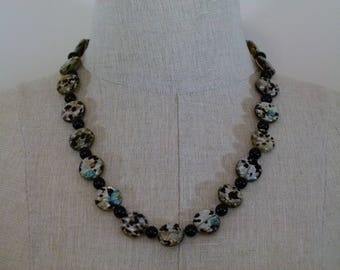 Black and Speckled Bead Necklace - 23 inches - Toggle Clasp - FREE SHIPPING