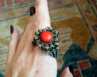 Vintage Ethnic Afghan Tribal Ring Tall Profile Red Stone Size 7 Boho Jewelry