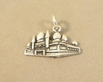 Sterling Silver CORN PALACE Charm Pendant Mitchell South Dakota Landmark Travel Tourist .925 Sterling Silver New tr132