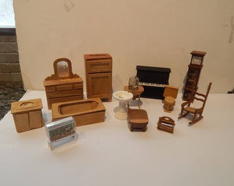 Vintage Handmade Wooden Doll House Furniture Lot of 14 pieces