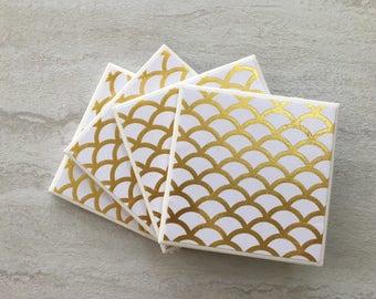 Gold Foil Coasters, Gold Coasters, Foil Coasters, Tile Coasters, Ceramic Coasters, Handmade Coasters, Gold Decor, Gold Gift, Gold Foil,
