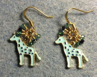 Light turquoise spotted enamel giraffe charm earrings  with tiny dangling turquoise and blue Chinese crystal beads.