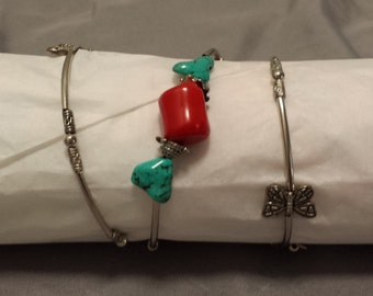 Bangle wrist wrap bracelet with butterflies and turquoise stones