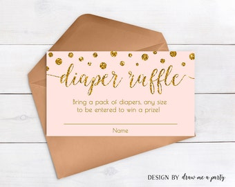 PINK AND GOLD Baby Shower , Diaper Raffle , Pink and Gold Polka Dots Baby Shower , Confetti Diaper Raffle Card , Printable Instant Download