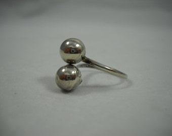 Silver Ring 925 Sterling Adjustable Crossover Ball Studs Boho/Hippie/Statement Ring