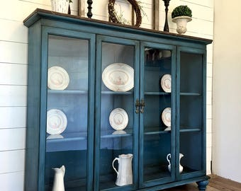 Sold!!! Blue farmhouse painted hutch, blue painted china cabinets