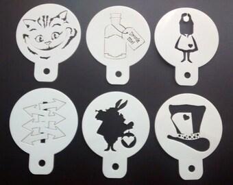 ALICE IN WONDERLAND Pack of 6 Cupcake Stencils White Rabbit, Cheshire Cat etc