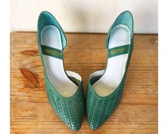 80s leather woven pumps green aqua mint genuine vintage new old stock dead stock unworn size 9 9B Impanema made in Brazil Jessica 39 40 8.5