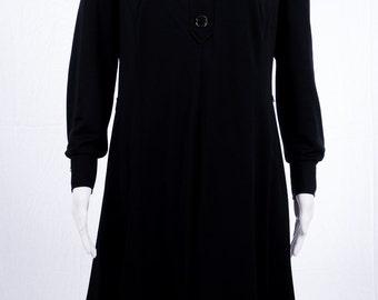 Elegant black vintage dress 70's - long sleeve - simply - V-neck - hippie - long dress - size M - GR 44-70s fashion