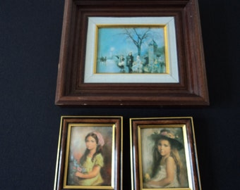 REDUCED - Three French Vintage framed enamel pictures (P0004-69)