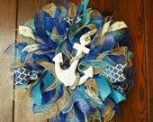 Beach Wreath, Summer Wreath, Anchor Wreath, Sailing Wreath, Anchors, Summer, Nautical, Sailing, Beach, Beach Decor, Ocean, Blue, Sea,
