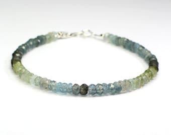 Moss aquamarine bracelet;Gemstone bracelet;Beaded bracelet;Moss aquamarine;Blue bracelet;Green bracelet;March birthstone;Stackable bracelet