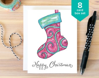 CHRISTMAS CARD SET: Happy Christmas Card Box Set. Whimsical Holiday Cards. Stocking Card. Folded Greeting Cards. Hand Drawn Christmas Set.