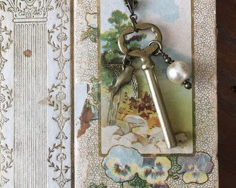 Vintage Key Necklace. Antique. Upcycled.