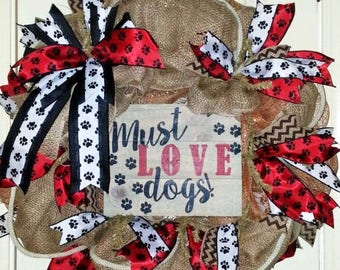 Made to Order, Dog wreath, Dog Lovers wreath, dog door hanger
