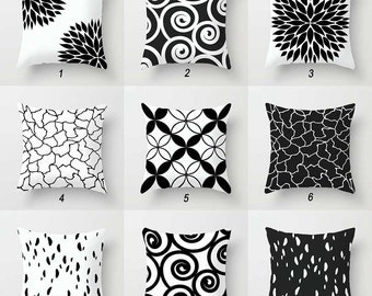 Black Pillows, White Pillows, Mix and Match, Geometric Pillow Covers, Designer Pillows, Toss Pillows, Decorative Pillows, Couch Cushions