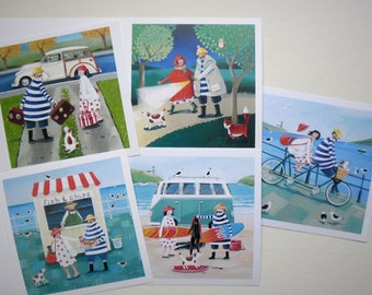 Set of five Mr and Mrs Fish Cards