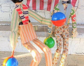 Americana Marionettes, Puppets with Maracas, Worn and Shabby