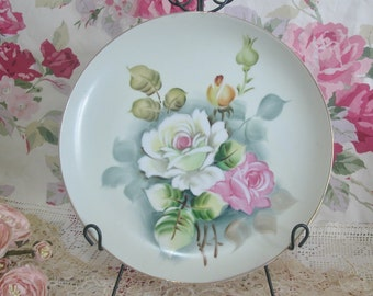 Hand Painted Pink, Yellow Roses Porcelain Decorative Plate, Made In Japan