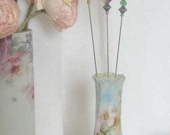 3 Hand Crafted Victorian Style Hatpins, Vintage Porcelain Hatpin Holder, Shabby Chic, Vintage