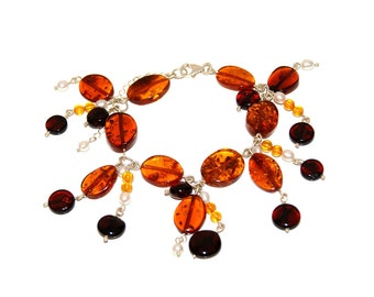 Bracelet Made From River Pearls, Silver And Genuien Baltic Amber