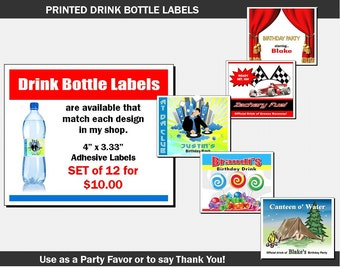 Drink Bottle Labels to Match Any PrintVillaInvites Invitation Design, Set of 12, Printed, Personalized Label for Water Bottle