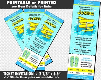 Water Park Ticket Invitation, Printable with Printed Option, Birthday Party, Water Slide Invites, Party at Waterpark, Boy or Girl Birthday