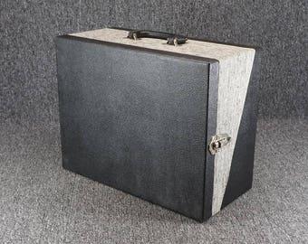 "Vintage Wooden Storage Box W/ Handles 16 3/8"" X 12 3/4"" X 8"" Black 4 Sections"