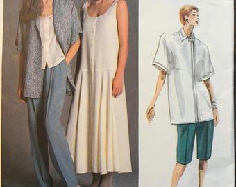 Vogue Designer Sewing Pattern 1856 Perry Ellis, Dress Shirt Top Pants, Size 12 UNCUT 1987