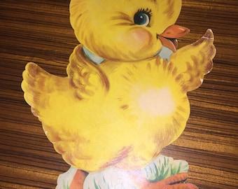 Vintage 1950's Dennison die cut Easter chick decoration
