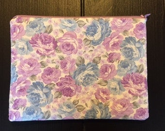 Purple and Blue Floral Zipper Pouch