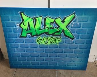 Airbrush Graffiti Art Canvas sign in Board 16x30 Ready to hang. Custom Art on Canvas, Event Decor, Room Decor